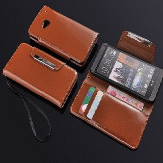 Glossy  Wallet Leather Case for HTC One M7 - Brown