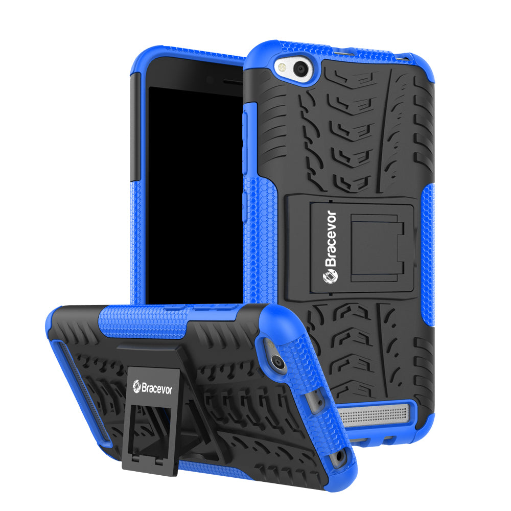Shockproof Xiaomi Redmi 5A Hybrid Kickstand Back Case Defender Cover - Blue