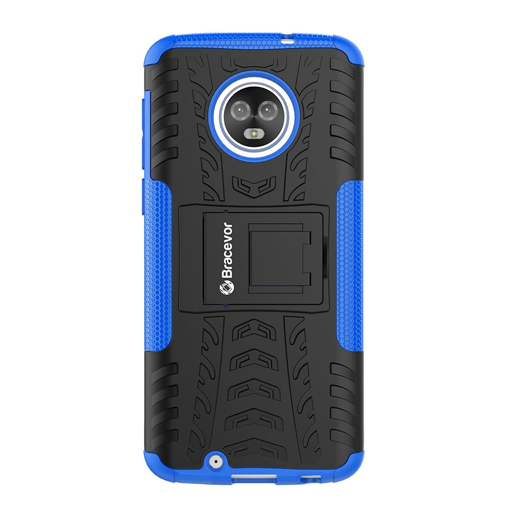 Shockproof Moto G6 Hybrid Kickstand Back Case Defender Cover - Blue