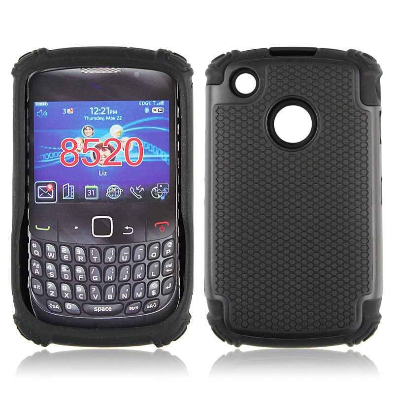 Bracevor Triple Layer Defender Back Case Cover for Blackberry Curve 8520 - Black