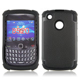 Triple Layer Defender Back Case for Blackberry Curve 8520 - Black