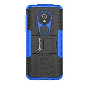 Shockproof Moto G6 Play Hybrid Kickstand Back Case Defender Cover - Blue