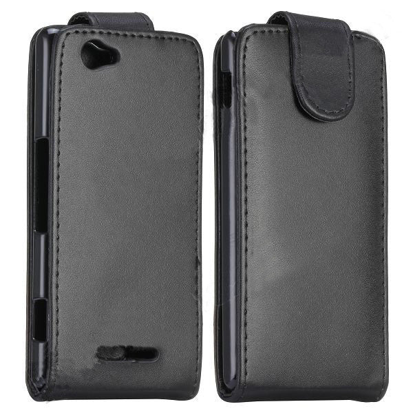 Bracevor Smooth Magnetic Flip Leather Case Inner Hard PC Cover for Sony Xperia M - Black
