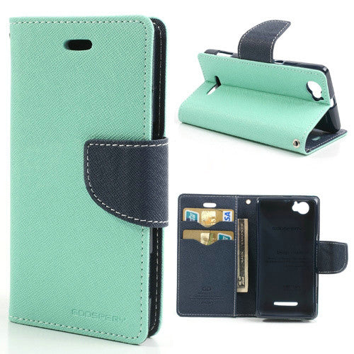 Mercury Goospery Fancy Diary Leather Case Cover for Sony Xperia M - Cyan