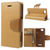 Mercury Goospery Sonata Wallet Leather Magnetic Case for Sony Xperia M - Beige