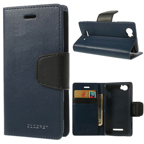 Bracevor Mercury Goospery Sonata Wallet Leather Magnetic Case for Sony Xperia M - Dark Blue