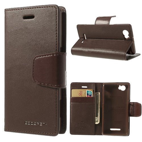 Bracevor Mercury Goospery Sonata Wallet Leather Magnetic Case for Sony Xperia M - Brown