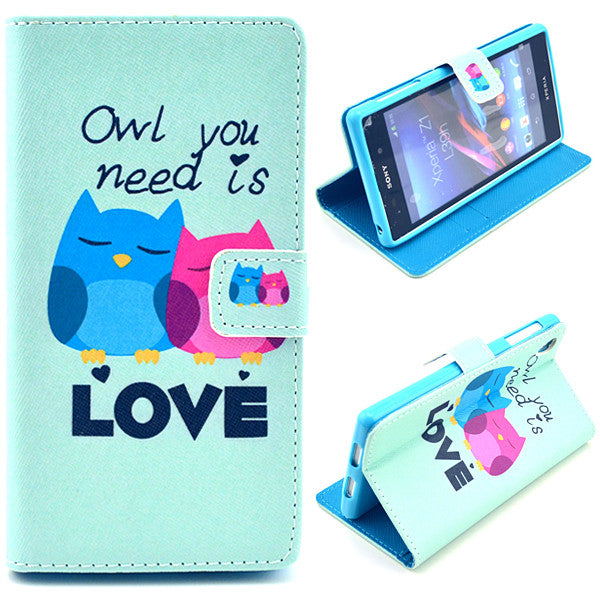 Bracevor Love Owl Design Wallet Leather Flip Case Cover for Sony Xperia Z1 Honami L39H