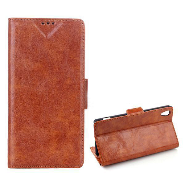 Bracevor Executive Leather Wallet Case Cover for Sony Xperia Z1 L39H - Brown