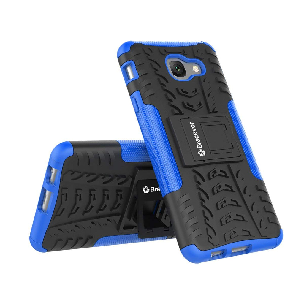 Shockproof Samsung Galaxy J7 Max Hybrid Kickstand Back Case Defender Cover - Blue