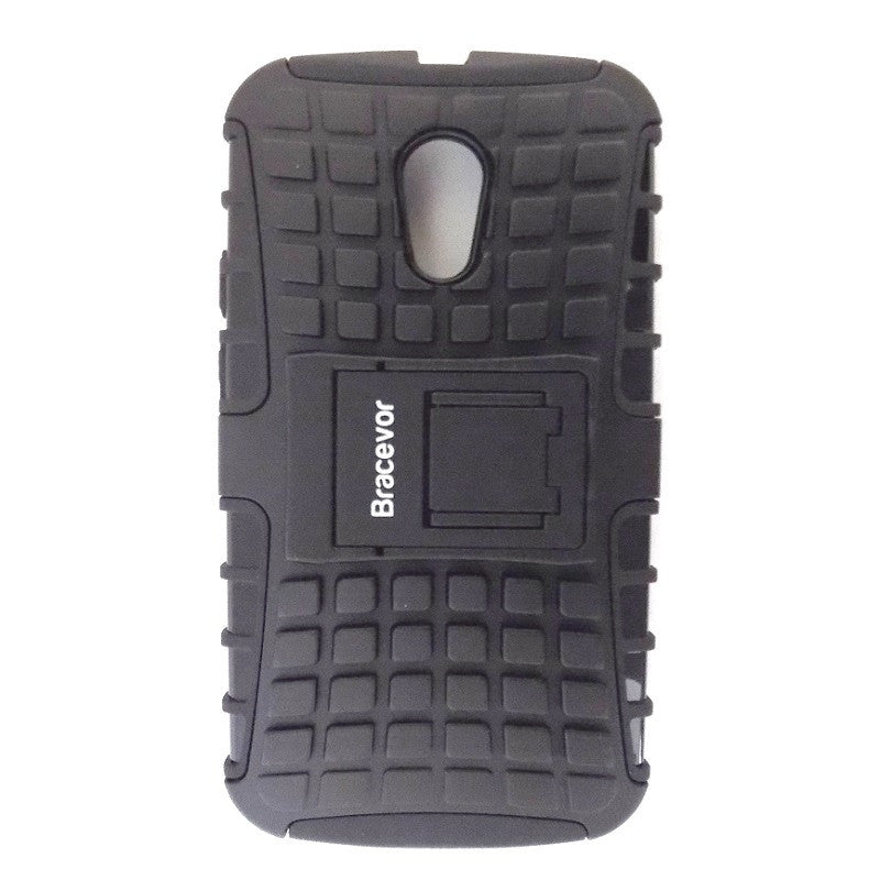 Bracevor Rugged Armor Hybrid Kickstand Case for Moto G2 - Black