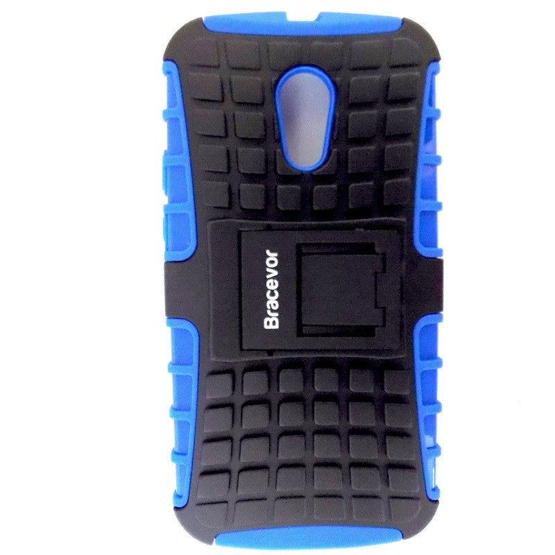 Bracevor Rugged Armor Hybrid Kickstand Case Cover for Moto G2, G+1, 2nd Generation - Blue