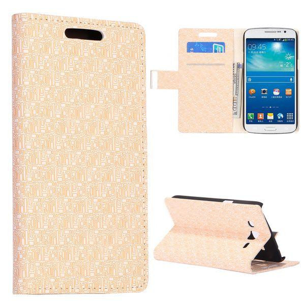 Bracevor Maze Pattern Wallet Stand Leather Case for Samsung Galaxy Grand 2 (Ivory)