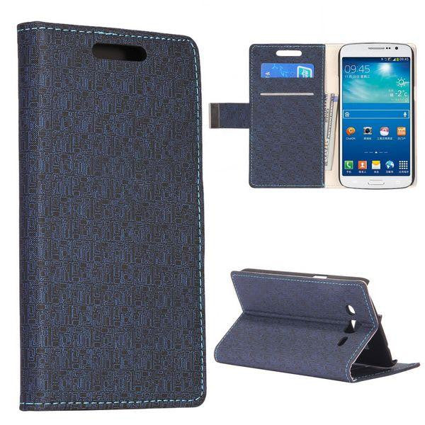Bracevor Maze Pattern Wallet Stand Leather Case for Samsung Galaxy Grand 2 (Black)