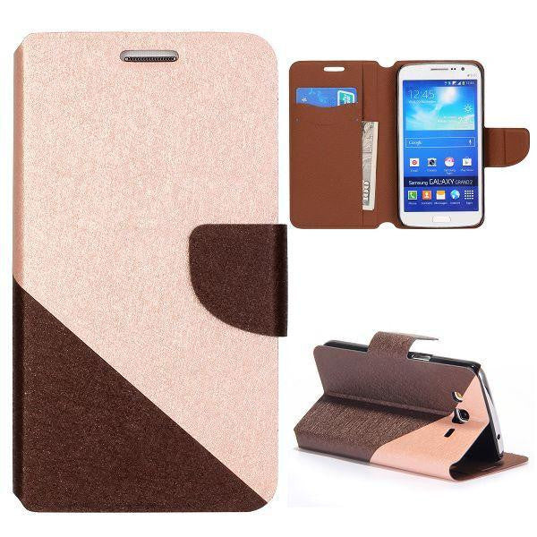 Bracevor Dual color silk Pattern Wallet Stand Leather Case for Samsung Galaxy Grand 2 (Brown)