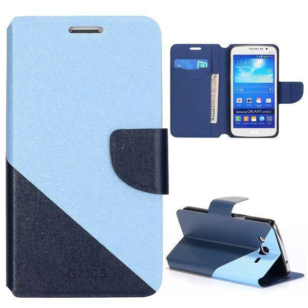 Bracevor Dual color silk Pattern Wallet Stand Leather Case for Samsung Galaxy Grand 2 (Blue)