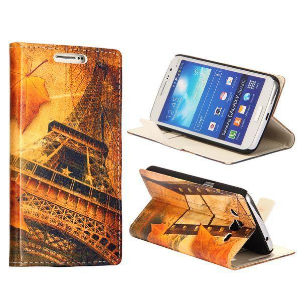 Bracevor Design Wallet Stand Leather Case for Samsung Galaxy Grand 2 (Eiffel Tower)