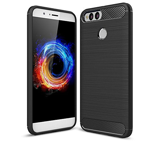 Honor 7X Back Case Cover | Flexible Shockproof TPU | Brushed Texture - Black