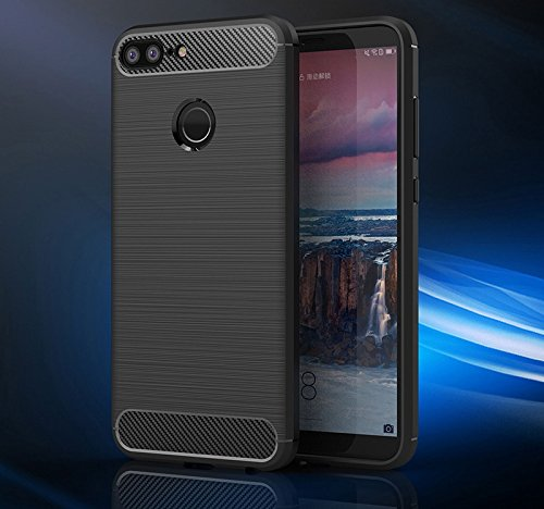 Honor 9 Lite Back Case Cover | Flexible Shockproof TPU | Brushed Texture - Black