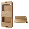 Bracevor Dual Window Texture Leather Stand Flip Case for HTC Desire 816 - Brown
