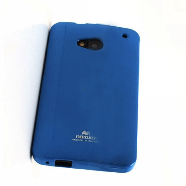 Bracevor Mercury Jelly Glitter TPU Gel Case for HTC One M7 801e (Blue)
