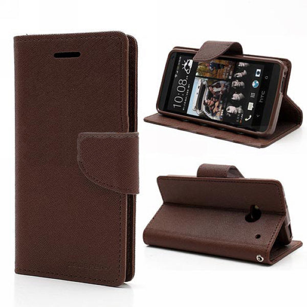 Mercury Goospery Fancy Diary Leather Case Cover for HTC One M7 801e - Brown