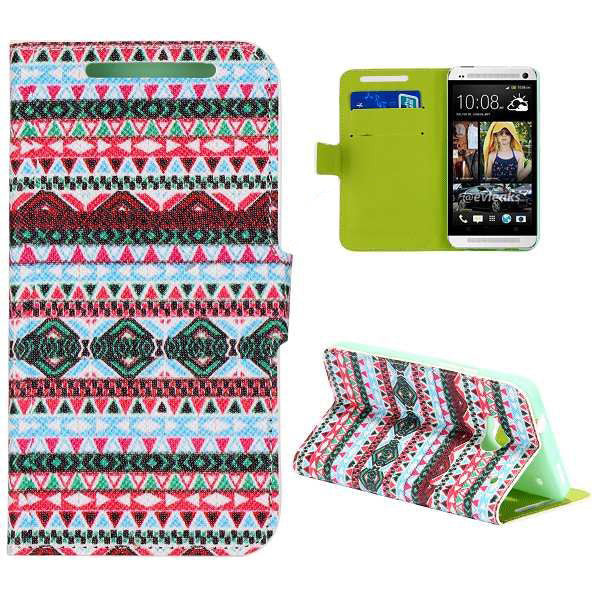 Bracevor Design Wallet Stand Leather Case for HTC One M7 - Aztec Tribal