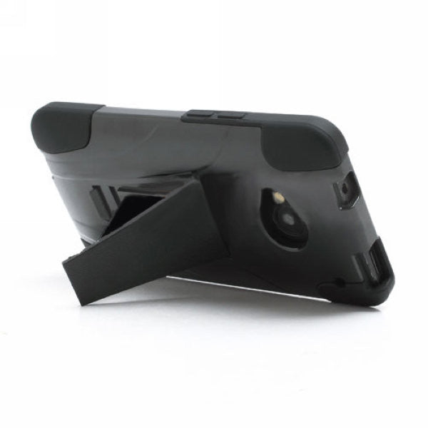 Bracevor 2 in 1 Silicone Cover and Hard Stand Case for HTC One M7 801e - Black