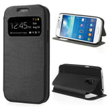 Smart Window View  Leather Stand Flip Case for Samsung Galaxy S4 mini - Black