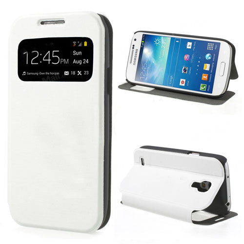 Smart Window View  Leather Stand Flip Case for Samsung Galaxy S4 mini - White