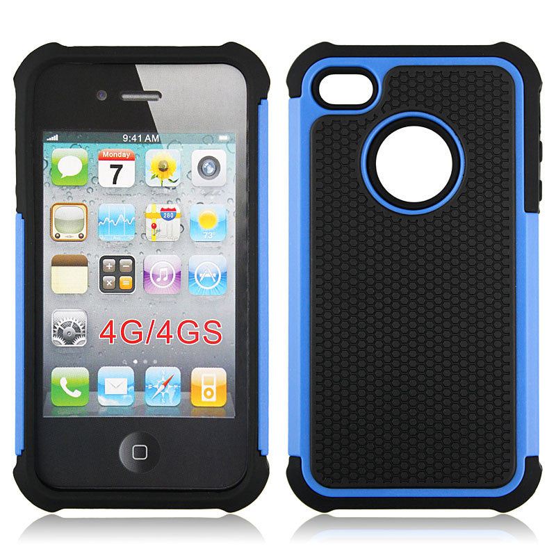 Triple Layer Defender Back Case for Apple iPhone 4 4s - Blue