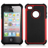 Triple Layer Defender Back Case for Apple iPhone 4 4s - Red