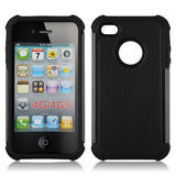 Triple Layer Defender Back Case for Apple iPhone 4 4s - Black