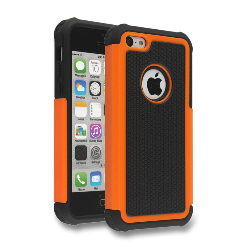 Triple Layer Defender Back Case for Apple iPhone 5c - Orange