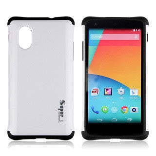 Classic White Super Hybrid 2 in 1 Back Case for LG Google Nexus 5