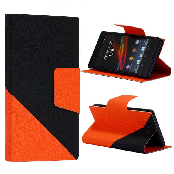 Bracevor Dual color Wallet Stand Leather Case for Sony Xperia Z L36H Orange 1
