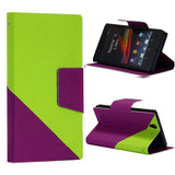 Bracevor Dual color Wallet Stand Leather Case for Sony Xperia Z L36H - Green