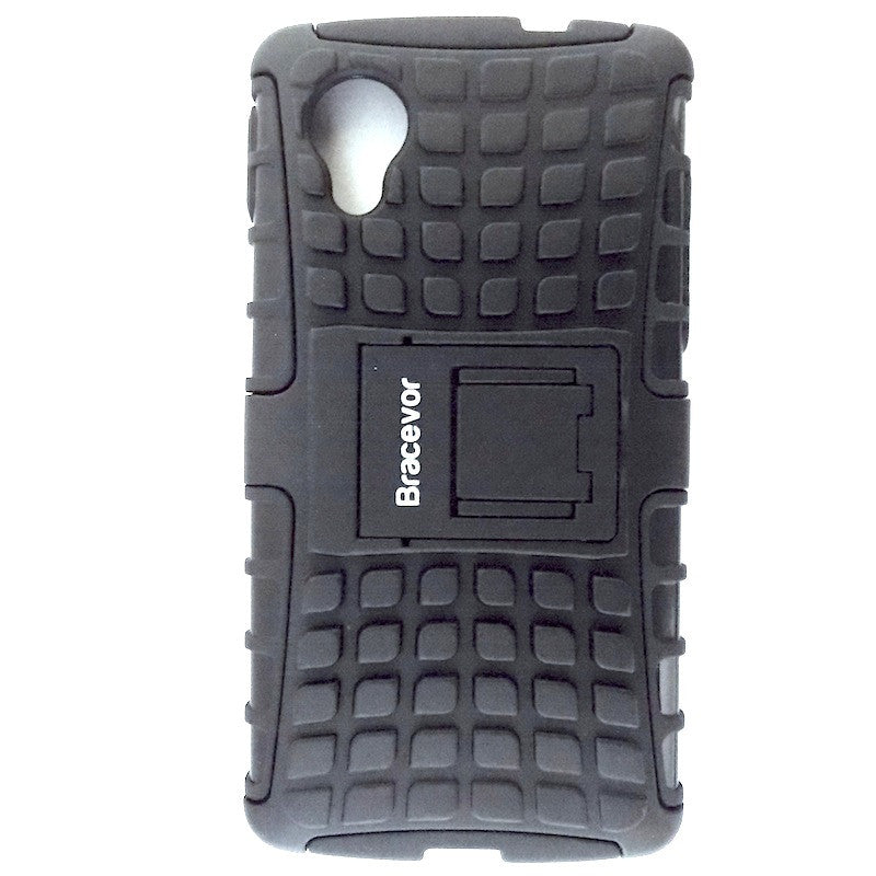 Bracevor Rugged Armor Hybrid Kickstand Case Cover for LG Google Nexus 5 - Black