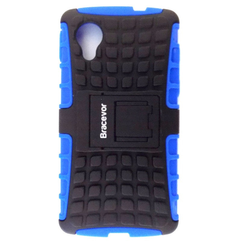 Bracevor Rugged Armor Hybrid Kickstand Case Cover for LG Google Nexus 5 - Blue
