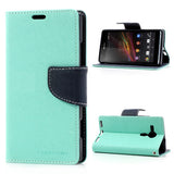 Mercury Goospery Fancy Diary Leather Case Cover for Sony Xperia SP - Dark Blue/Cyan