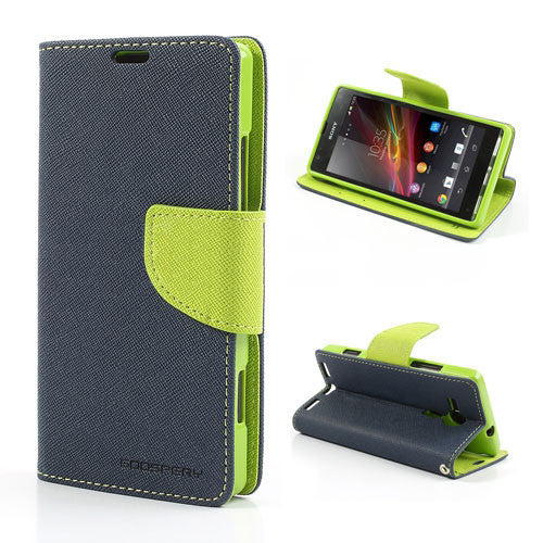Mercury Goospery Fancy Diary Leather Case Cover for Sony Xperia SP - Green / Blue