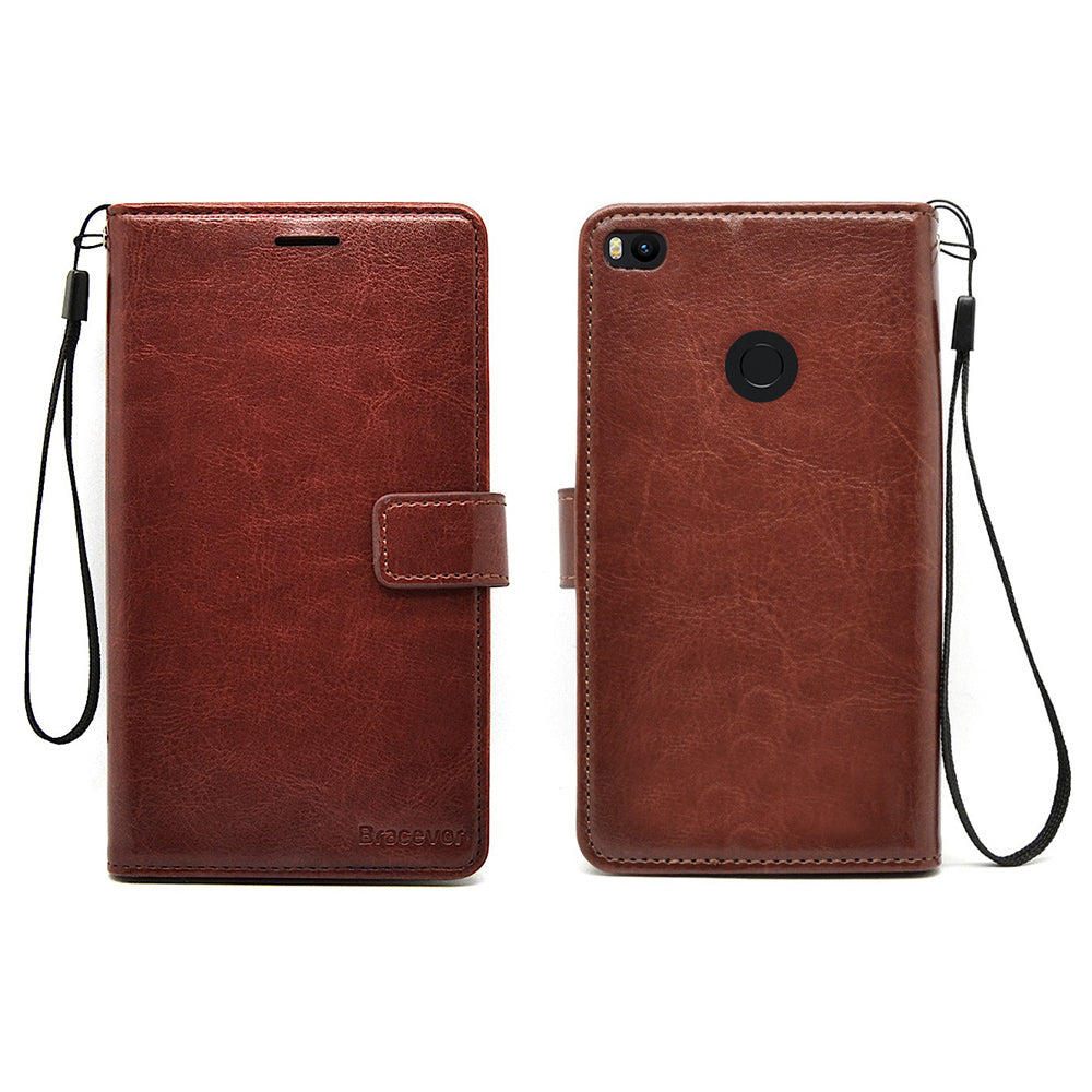Xiaomi Mi Max 2 Premium Flip Cover Leather Case | Inner TPU | Wallet Stand - Executive Brown