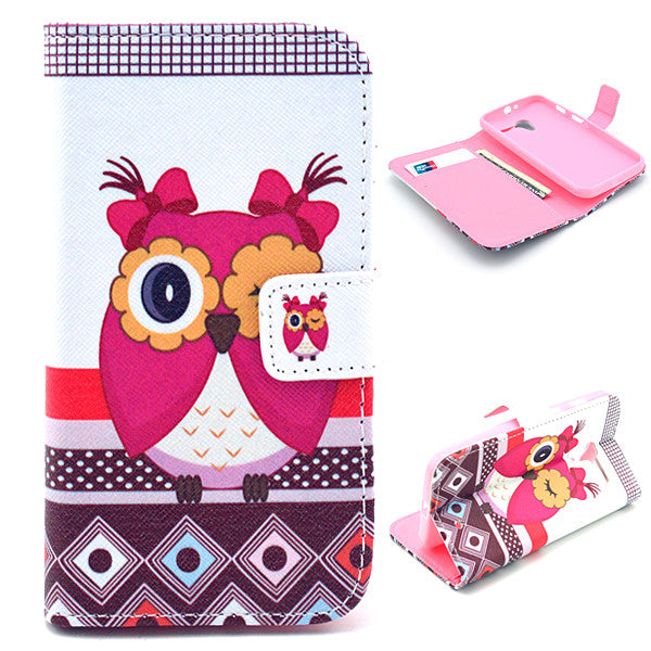 Bracevor Cute Owl Design Wallet Leather Flip case Cover for Motorola Moto X XT1058 XT1060