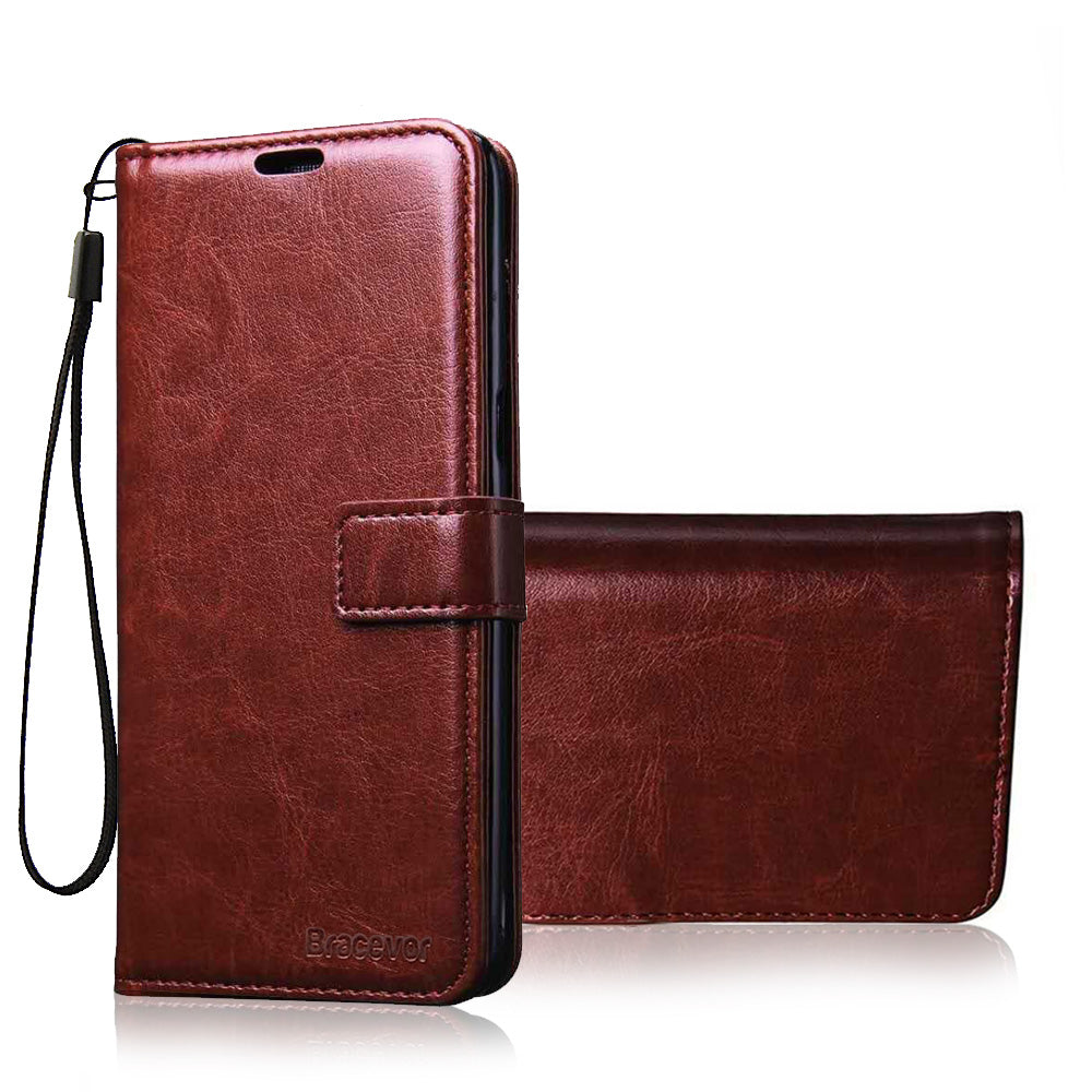 Bracevor Premium Flip Cover Case For Moto E5 Plus | Inner TPU | Leather Wallet Stand - Executive Brown