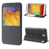 Brushed Leather Window View Flip Cover for Samsung Galaxy Note 3 Neo - Black