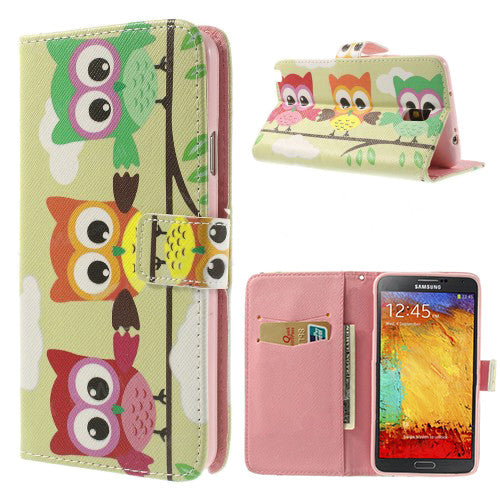 Bracevor Cute Owls Design Wallet Leather Case for Samsung Galaxy Note 3 Neo