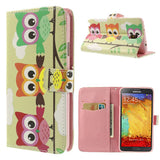 Cute Owls Design Wallet Leather Case for Samsung Galaxy Note 3 Neo