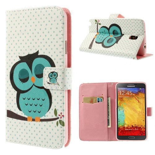 Bracevor Sleepy Owl Design Wallet Leather Stand Case Cover for Samsung Galaxy Note 3 Neo1