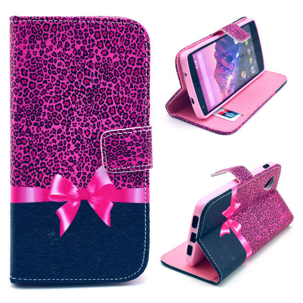 Bracevor Rose Bowknot Wallet Leather Flip Case for LG Google Nexus 5