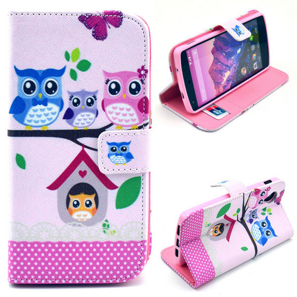 Bracevor Treehouse Owl Design Wallet Leather Flip Case Cover for LG Google Nexus 5